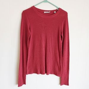 Vince. Waffle Knit Red Thermal Top